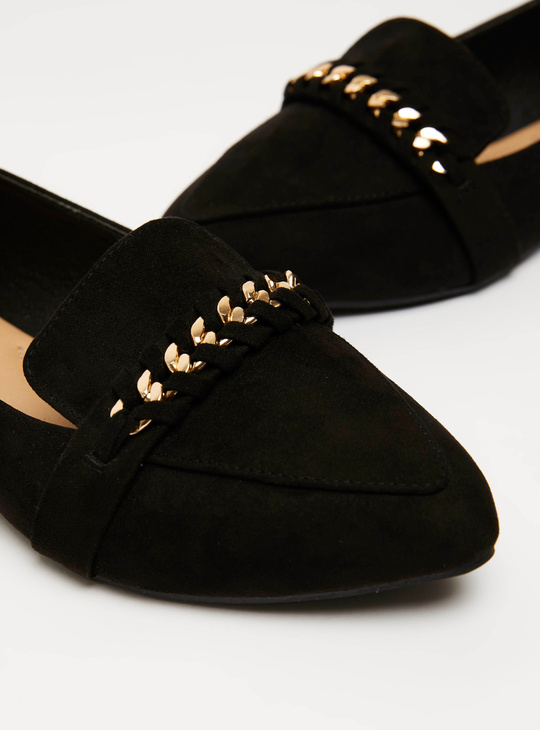 Solid Ballerinas with Embellished Detail