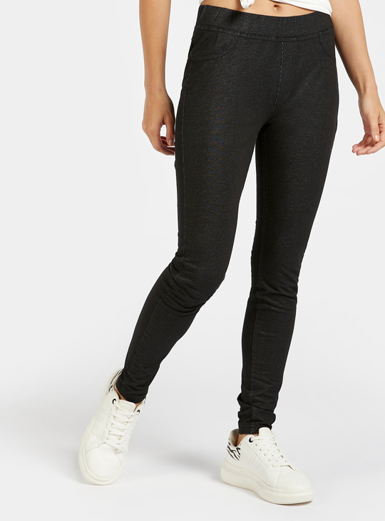 Slim Fit Solid Mid-Rise Jeggings with Elasticised Waistband