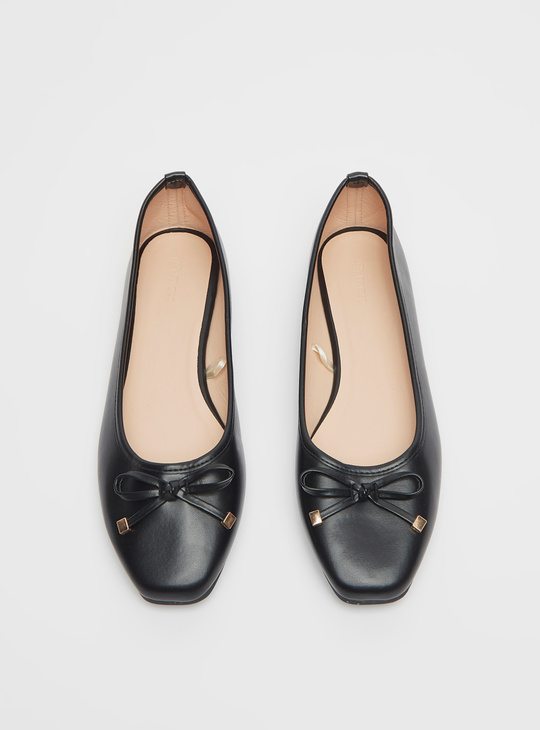 Square Toe Ballerinas with Bow Applique Detail