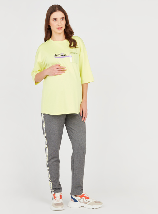 Textured Maternity Pants with Elasticised Waistband and Tape Detail