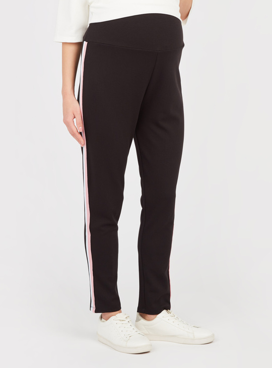 Solid Maternity Pants with Elasticised Waisband and Tape Detail