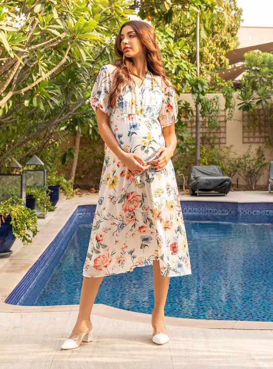 Maternity Floral Print A-line Midi Dress with Short Sleeves