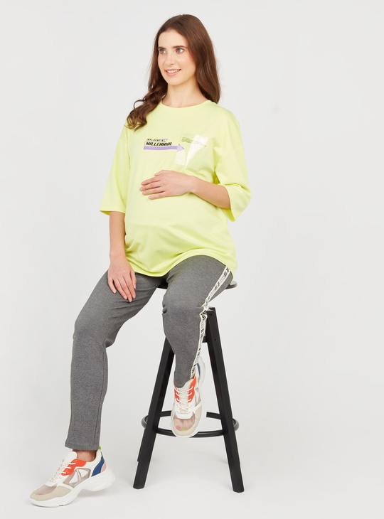 Maternity Printed T-shirt with Round Neck and 3/4 Sleeves