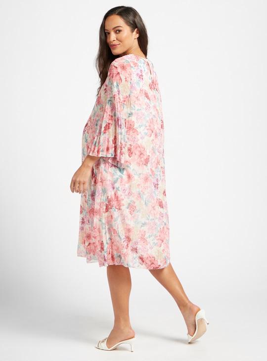 فستان للحوال ميدي بطبعات أزهار وحلقة إغلاق