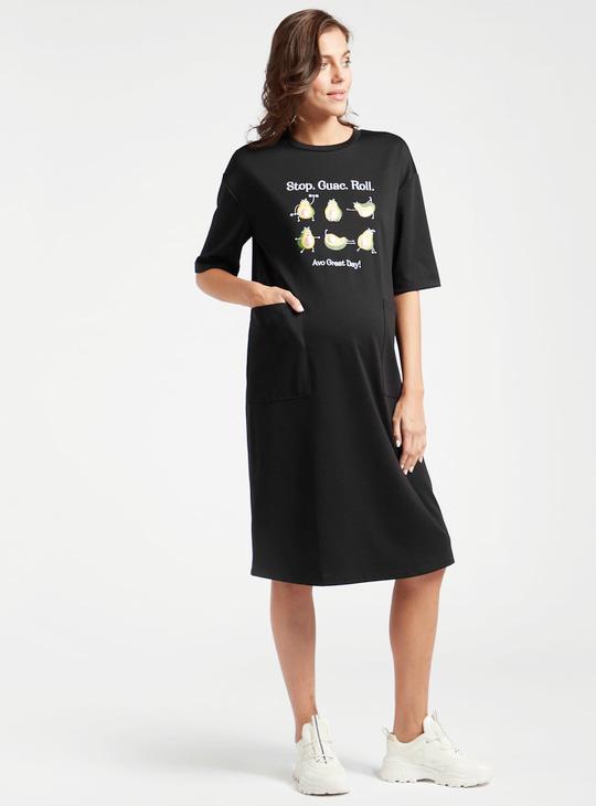 فستان تيشيرت حوامل طويل بأكمام قصيرة وطبعات