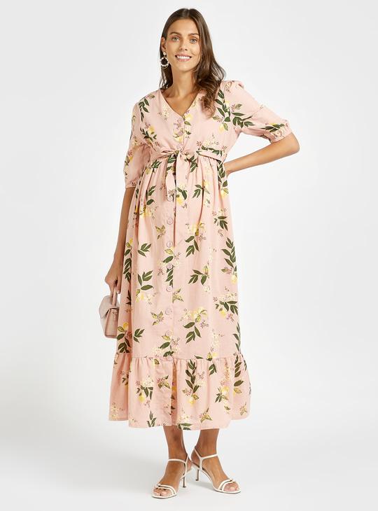 فستان حوامل ميدي متعدد الطبقات بطبعات أزهار وحزام برباط إغلاق