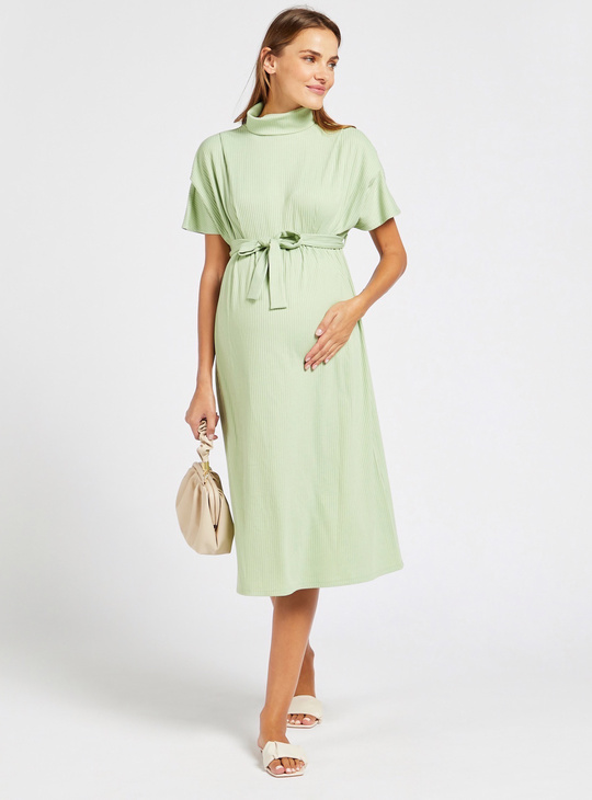 Maternity Textured A-line Midi Dress with Short Sleeves and Tie-Ups
