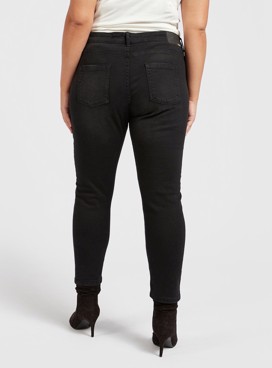 Solid Cropped Jeans with Pocket Detail and Belt Loops