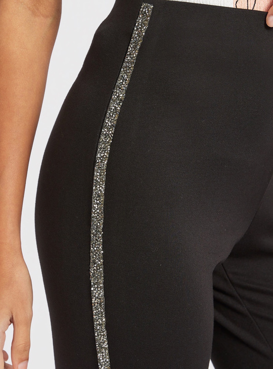 High-Rise Treggings with Glitter Finished Tape Detail