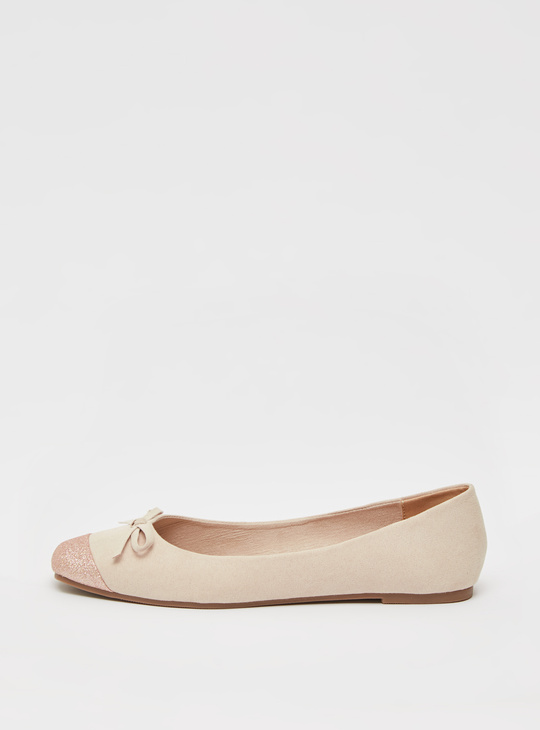Textured Slip-On Ballerina Shoes with Bow Accent