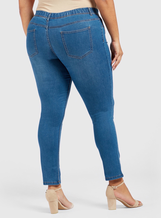 Full Length Skinny Fit Mid-Rise Jeggings with Elasticated Waistband