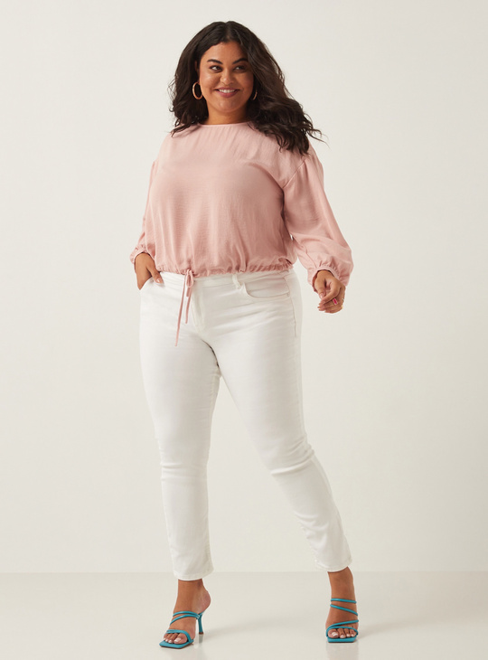 Full Length Skinny Mid-Rise Solid Jeans with Pocket Detail