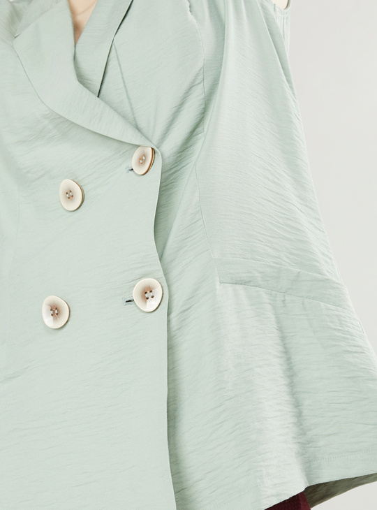 Solid Sleeveless Jacket with Spread Collar and Pockets