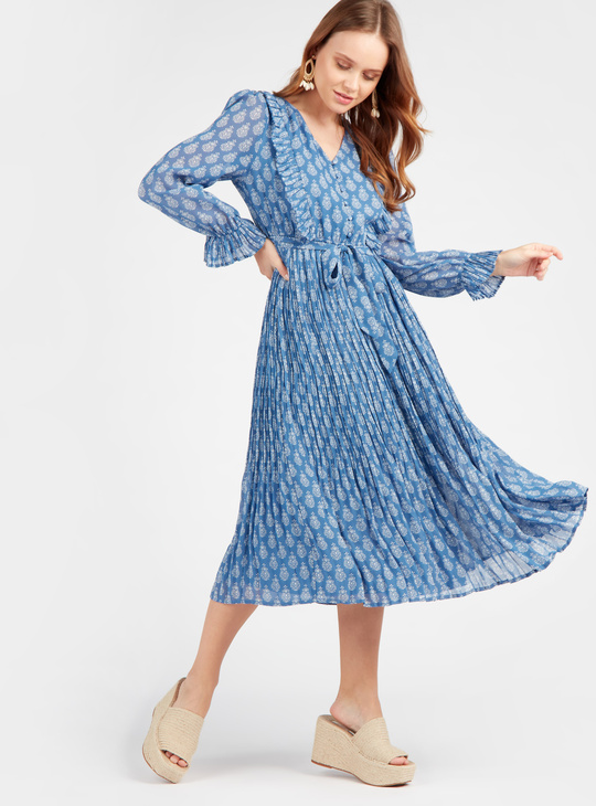 All Over Print A-Line Midi Dress with Ruffle Detail and Long Sleeves