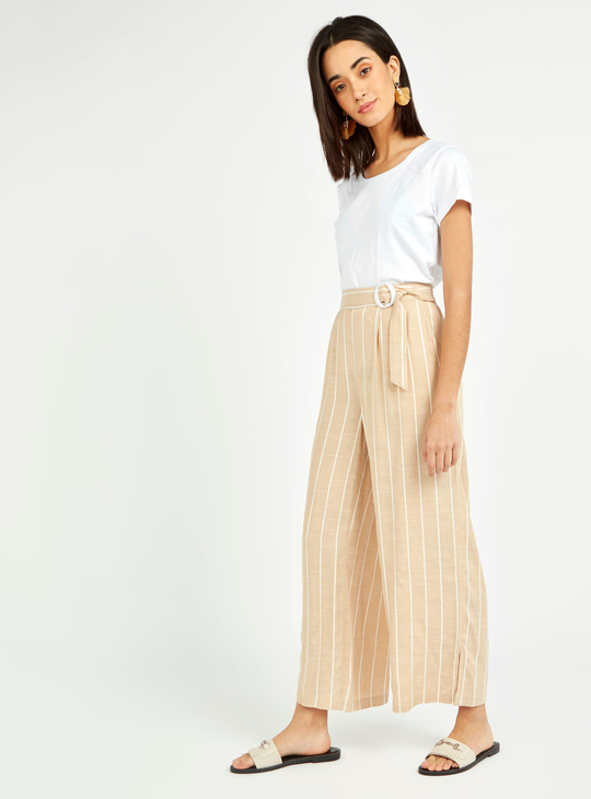 Yarn Dyed Striped Palazzos with Slip Pockets