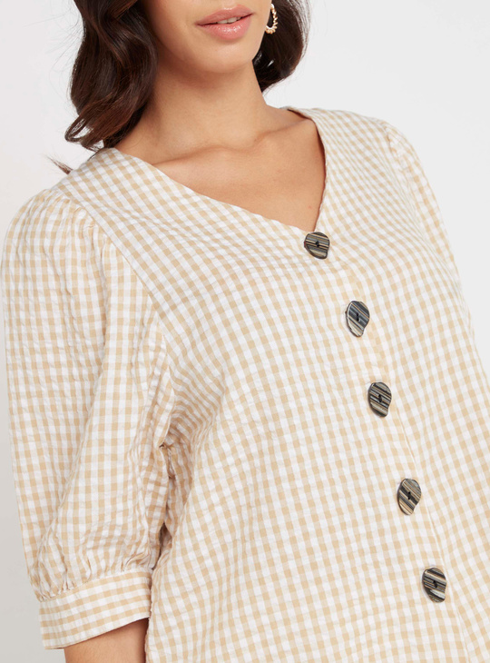 Checked Top with V-neck and 3/4 Sleeves
