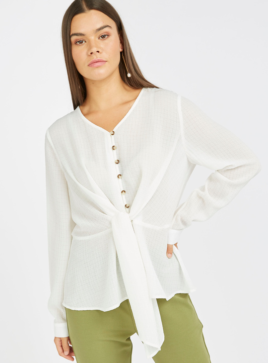 Textured Top with V-neck and Long Sleeves