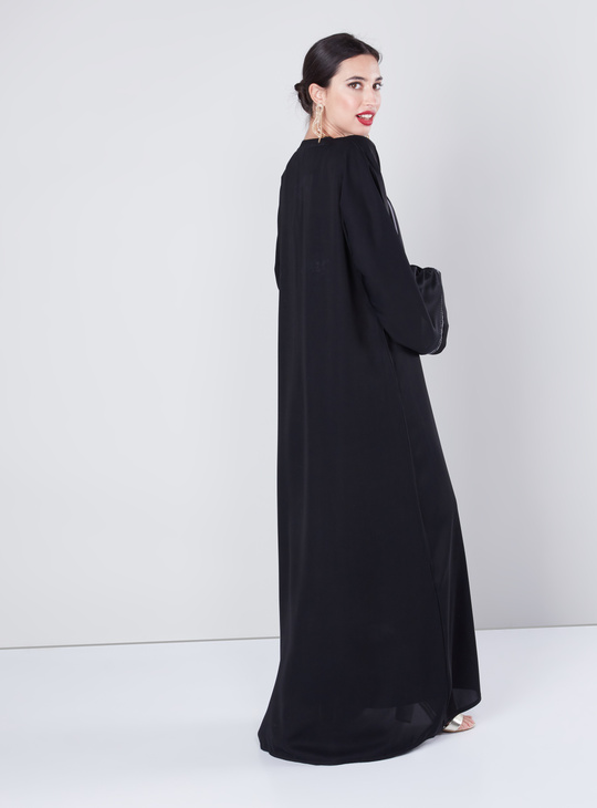 Embellished Abaya with Long Sleeves and Piping Detail