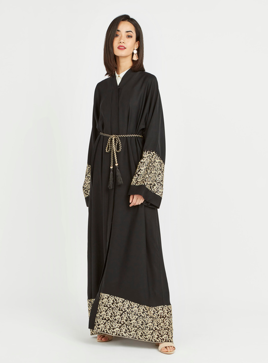 Embroidered Abaya with Long Sleeves and Tie Ups