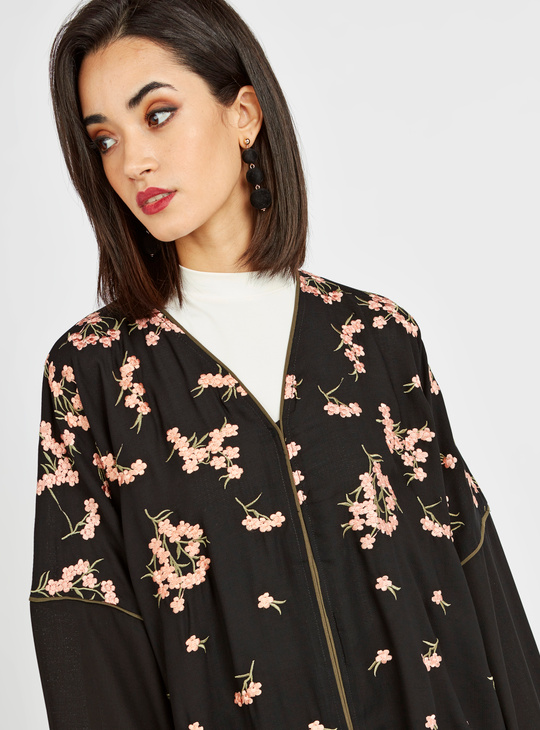 Printed Abaya with Long Sleeves and Tipping Detail
