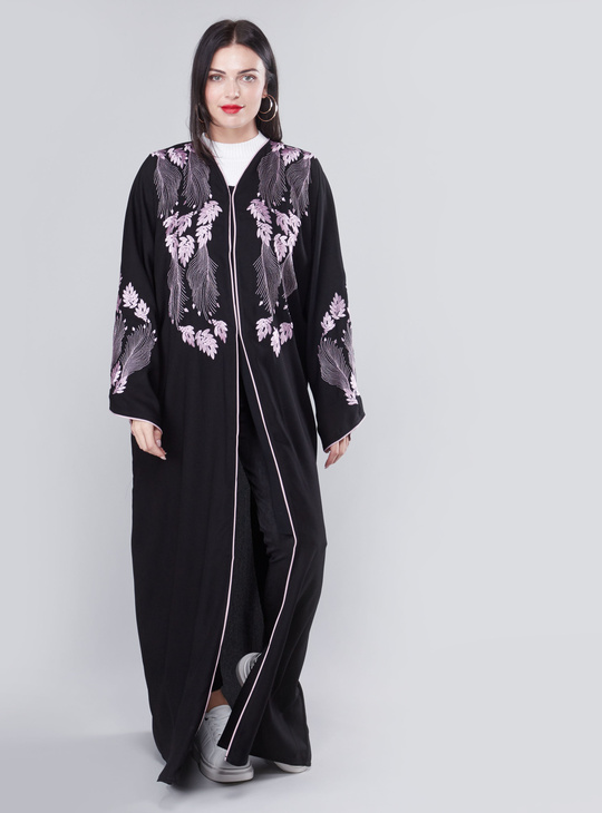 Full Length Embroidered Abaya with Long Sleeves and Button Closure