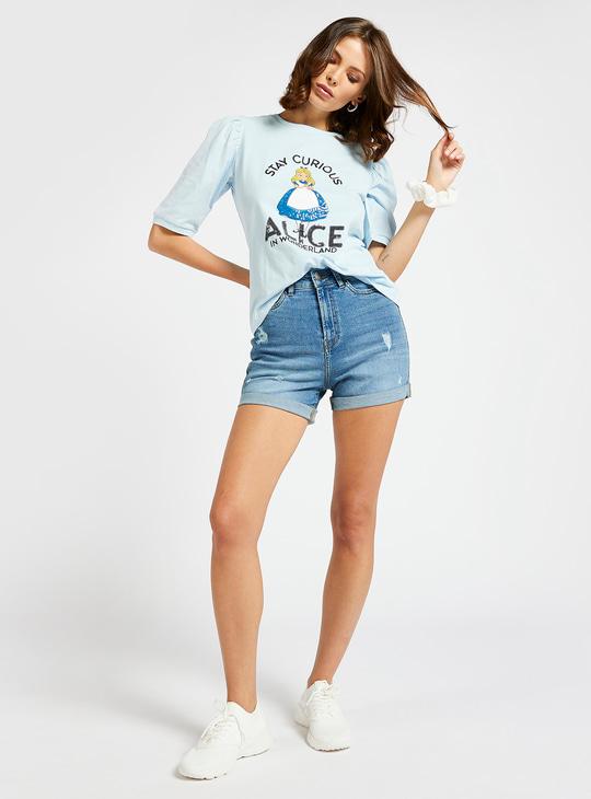 Alice in Wonderland Print T-shirt with Volume Short Sleeves