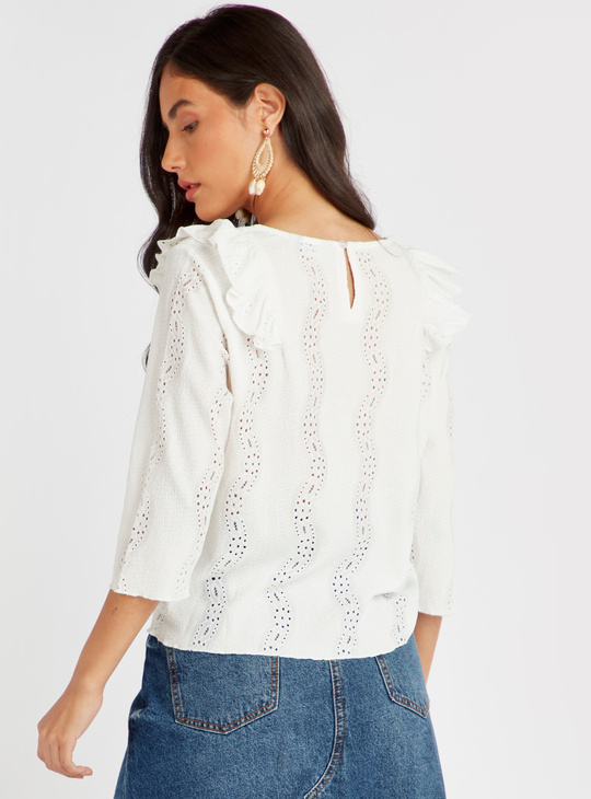Textured Broderie Anglaise Top with 3/4 Sleeves