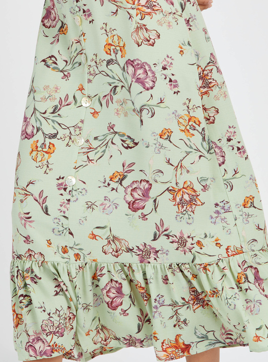 Floral Print Tiered Maxi Skirt with Ruffled Hem