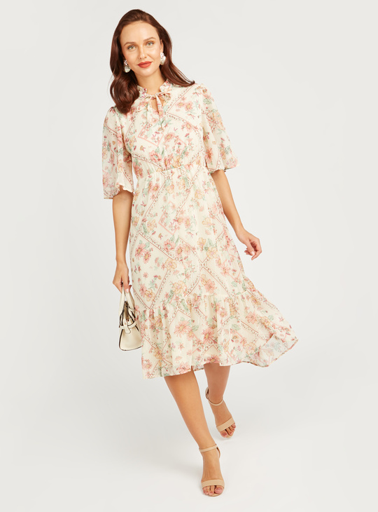 Printed Midi A-line Dress with Flared Sleeves and Tie Ups