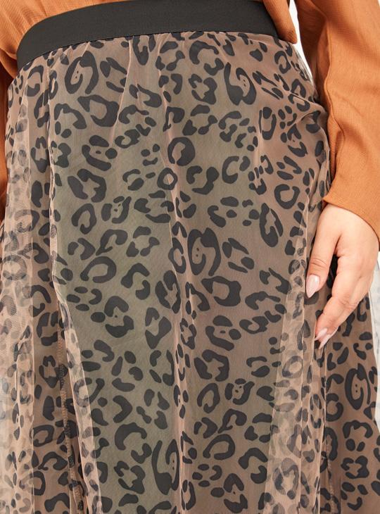 Printed Midi A-line Skirt with Mesh Overlay
