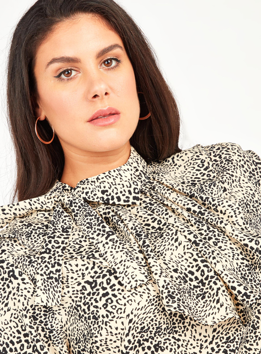 Animal Print Top with High Neck and Long Sleeves