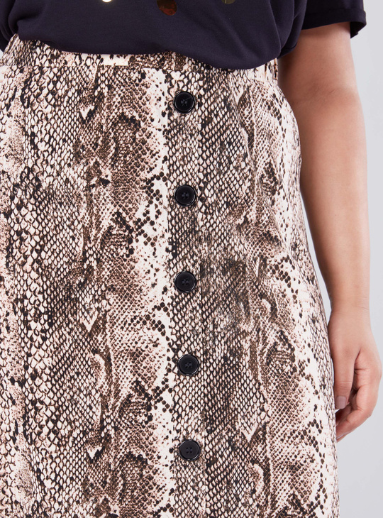 Animal Printed Midi Skirt with Button Detail