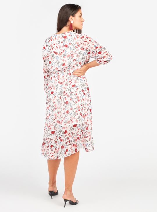 Printed Midi A-line Wrap Dress with 3/4 Sleeves and Tie Ups