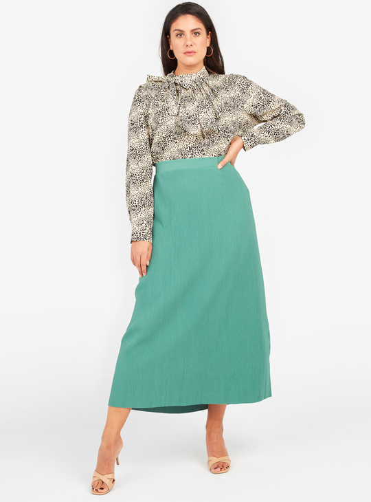 Pleat Detail Midi A-line Skirt with Elasticised Waistband