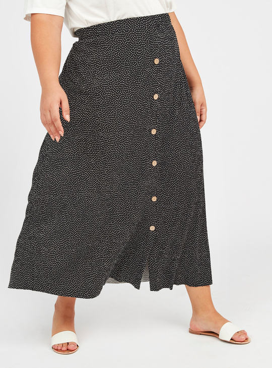 Printed A-Line Skirt with Button Detail and Elasticised Waistband