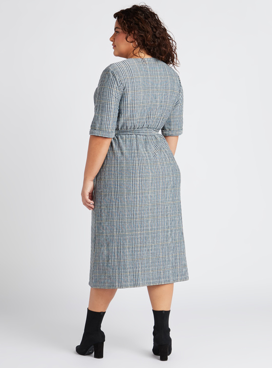 Checked V-Neck Midi Dress with Tie-Ups and Short Sleeves