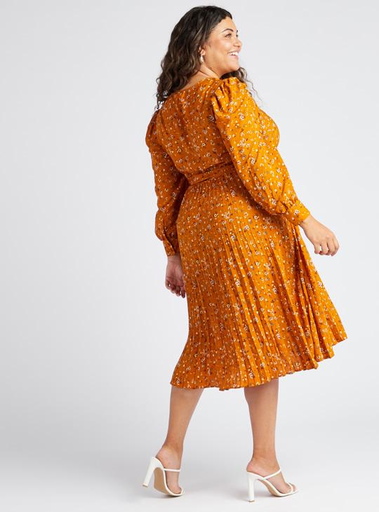 فستان إيه لاين ميدي بياقة V وأكمام باف طويلة وطبعات زهرية