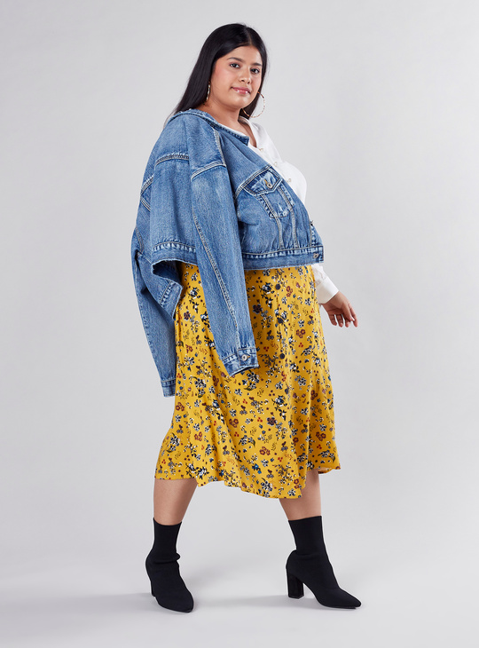 Floral Printed A-line Skirt with Elasticised Waistband