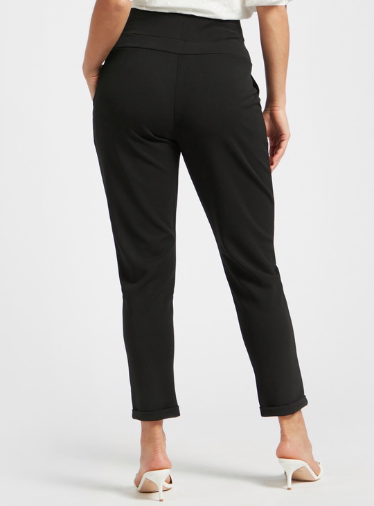 Solid Mid-Rise Maternity Trousers with Elasticised Waistband