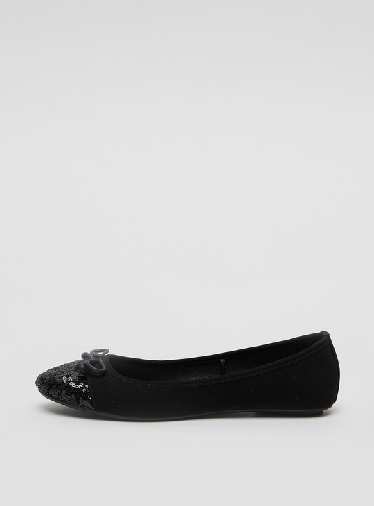 Sequin Detail Ballerina Shoes with Bow Applique