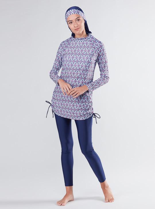Printed Long Sleeves Burkini with Tights