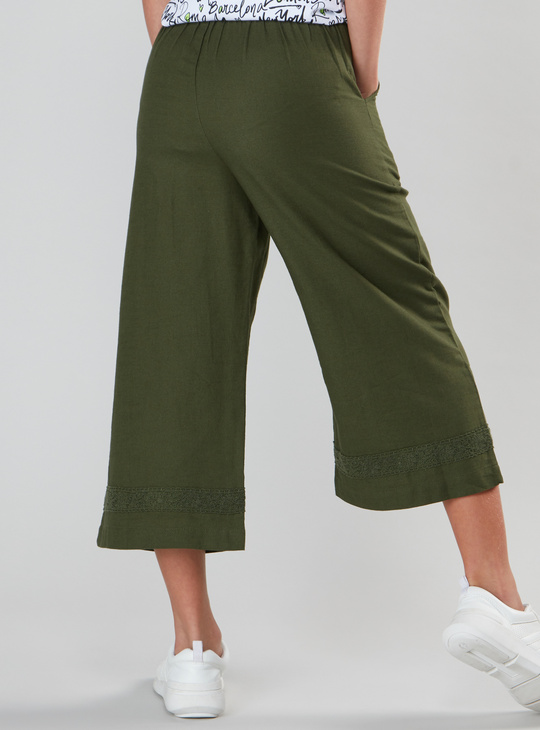 Plain Culottes with Elasticised Waistband and Pocket Detail