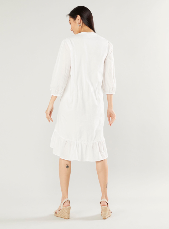 Solid Dress with V-neck and 3/4 Sleeves