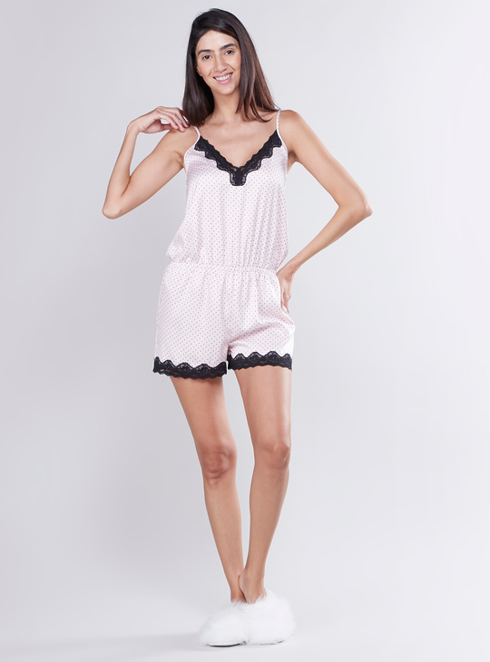 Printed Romper with Lace Trim Detail