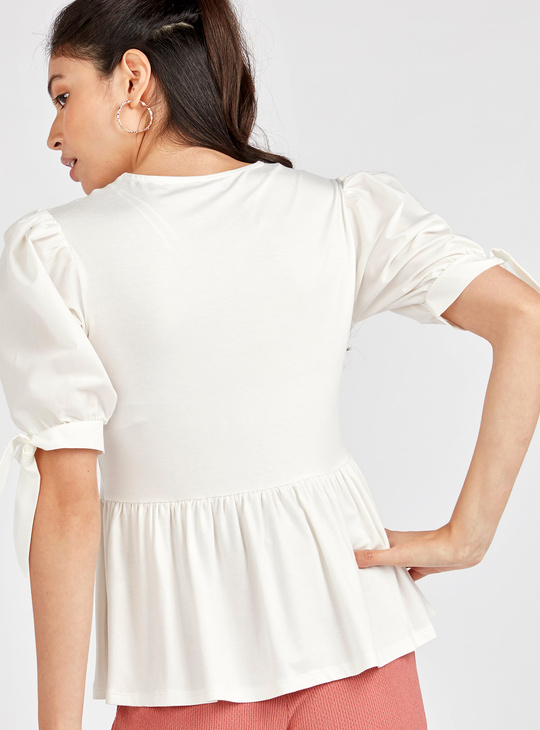Solid Round Neck Top with Puffed Sleeves and Ruffles