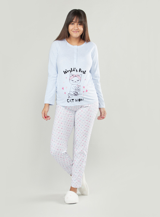 Printed Long Sleeves Maternity T-shirt and Pyjama Set