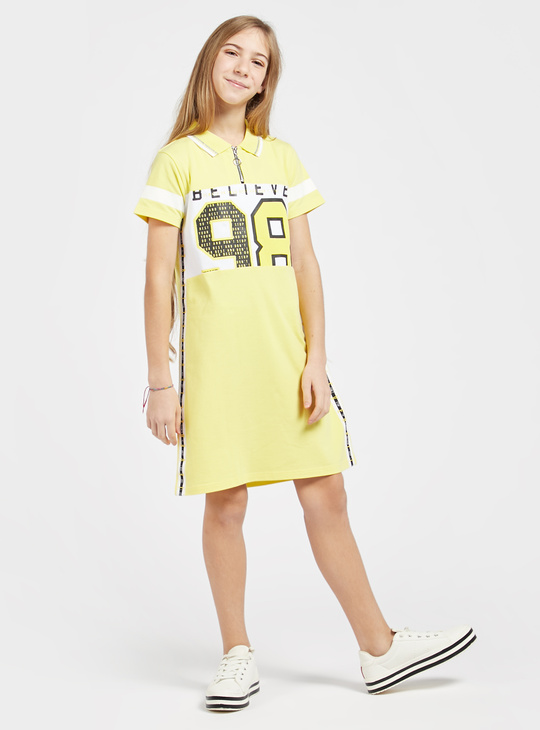 Graphic Print Dress with Short Sleeves and Zip Detail