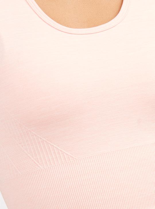 Slim Fit Textured Crop Top with Racerback