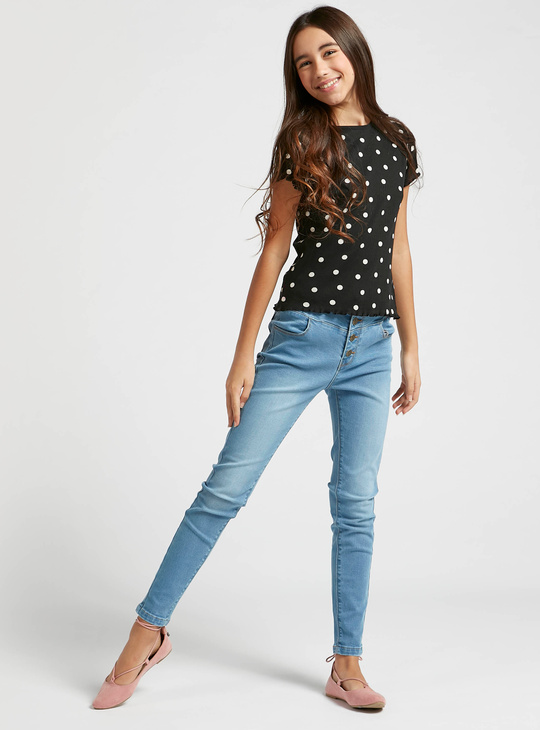 All-Over Polka Dot Print Ribbed T-shirt with Round Neck