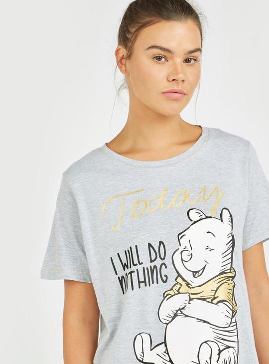Winnie-the-Pooh Print Round Neck T-shirt and Pyjama Set
